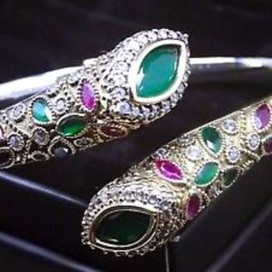 Authentic Ruby/Emerald Bracelet in 925 Silver